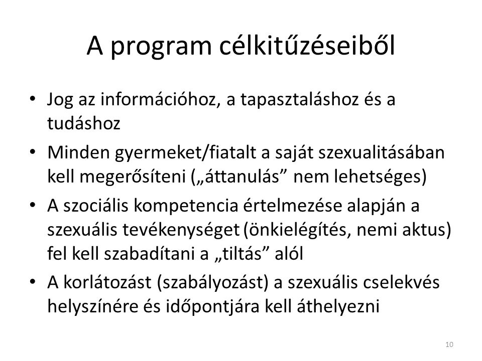 A program célkitűzéseiből