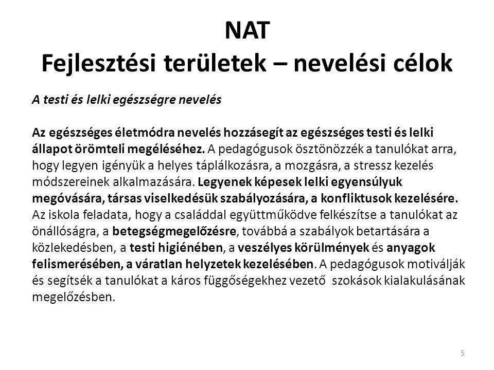 NAT Fejlesztési területek – nevelési célok