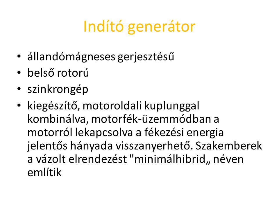 Indító generátor állandómágneses gerjesztésű belső rotorú szinkrongép