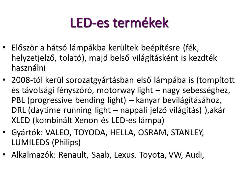 LED-es termékek Először a hátsó lámpákba kerültek beépítésre (fék, helyzetjelző, tolató), majd belső világításként is kezdték használni.