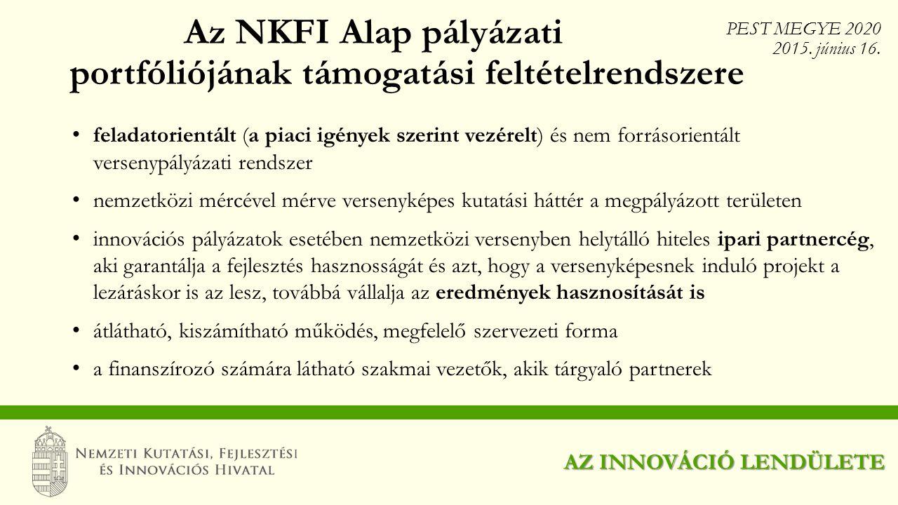 Az NKFI Alap pályázati portfóliójának támogatási feltételrendszere