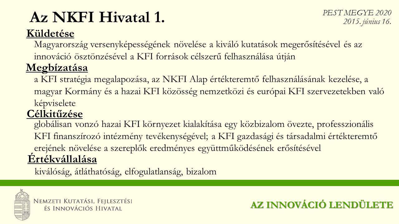 Az NKFI Hivatal 1. Küldetése Megbízatása Célkitűzése Értékvállalása