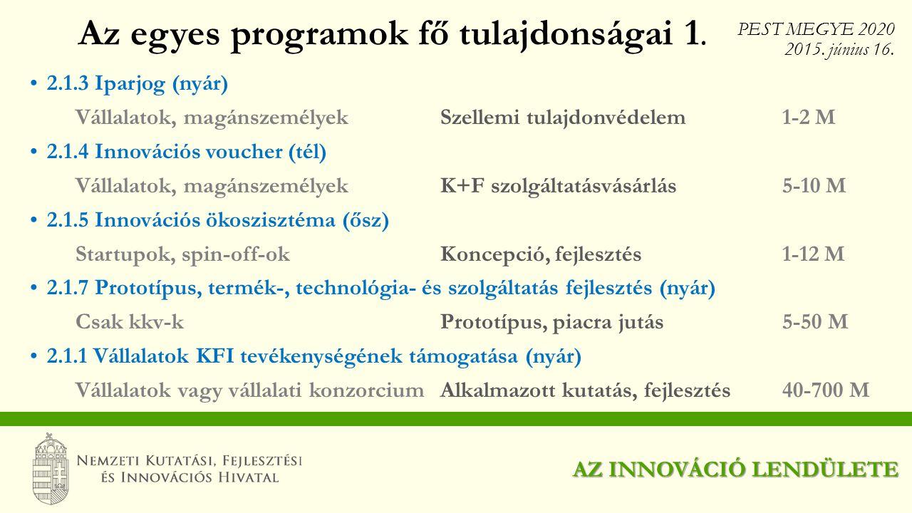 Az egyes programok fő tulajdonságai 1.