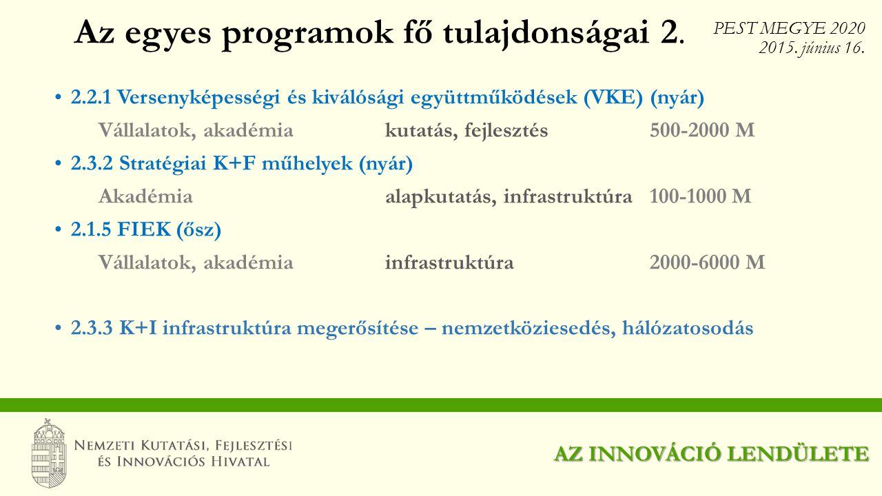 Az egyes programok fő tulajdonságai 2.