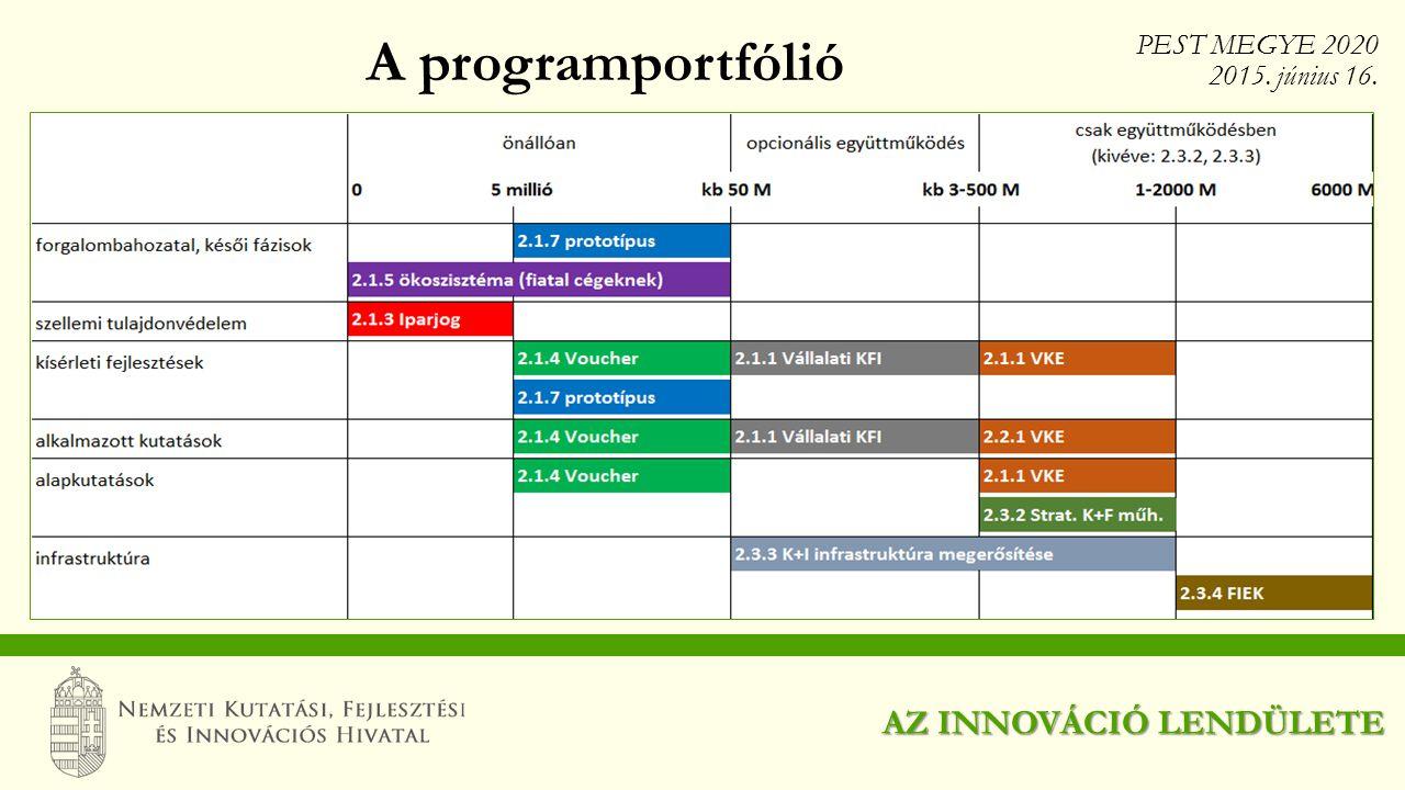 A programportfólió AZ INNOVÁCIÓ LENDÜLETE PEST MEGYE 2020