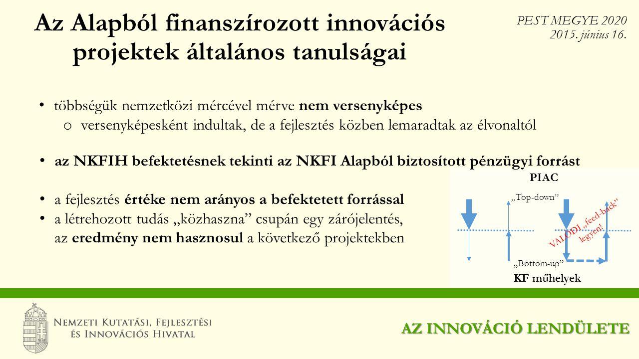 Az Alapból finanszírozott innovációs projektek általános tanulságai
