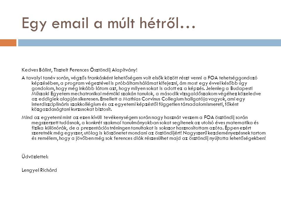 Egy email a múlt hétről…