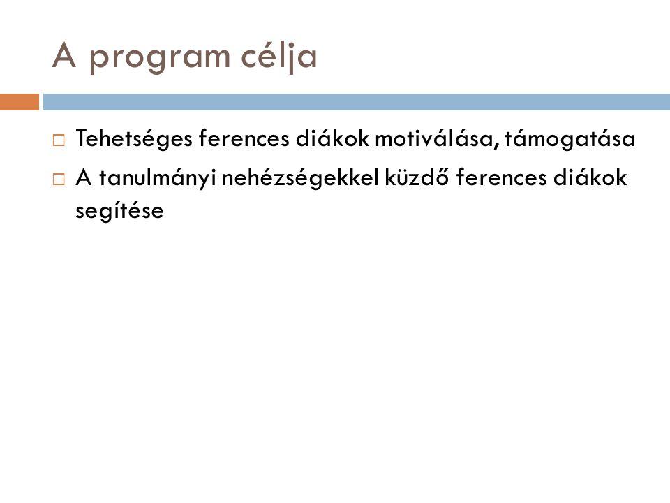 A program célja Tehetséges ferences diákok motiválása, támogatása