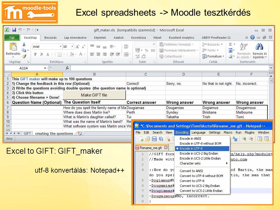 Excel spreadsheets -> Moodle tesztkérdés