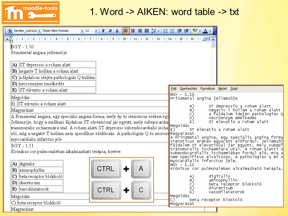 1. Word -> AIKEN: word table -> txt