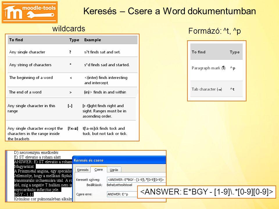 Keresés – Csere a Word dokumentumban
