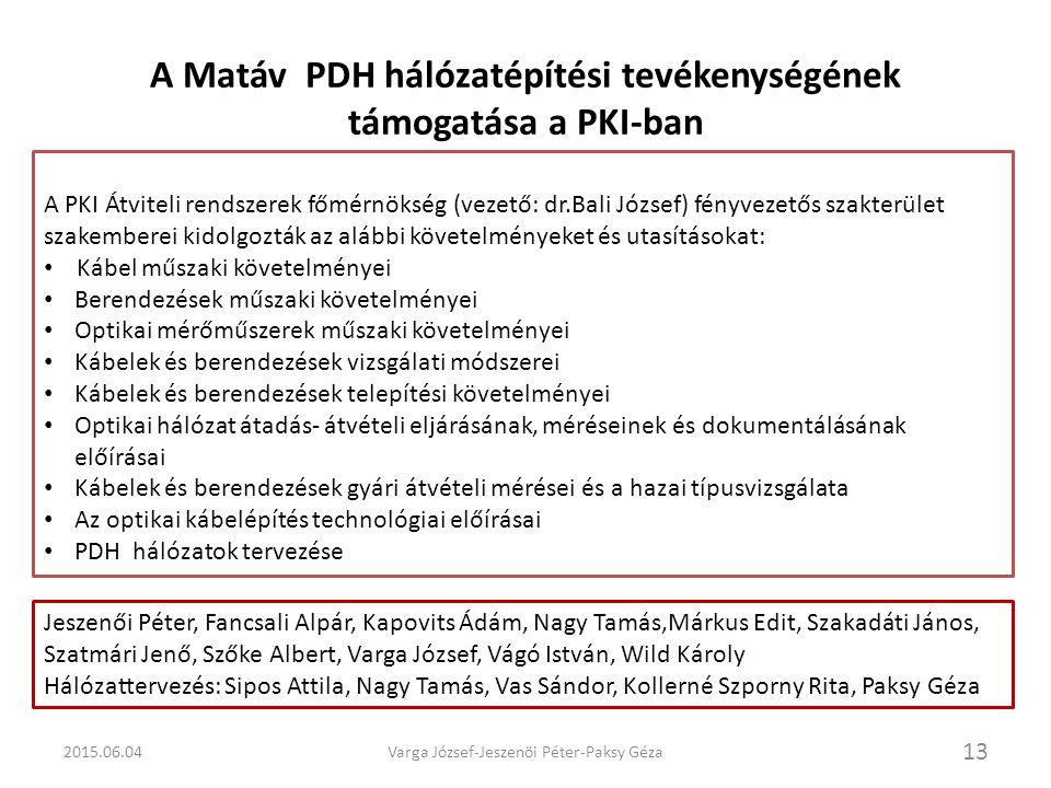 A Matáv PDH hálózatépítési tevékenységének támogatása a PKI-ban