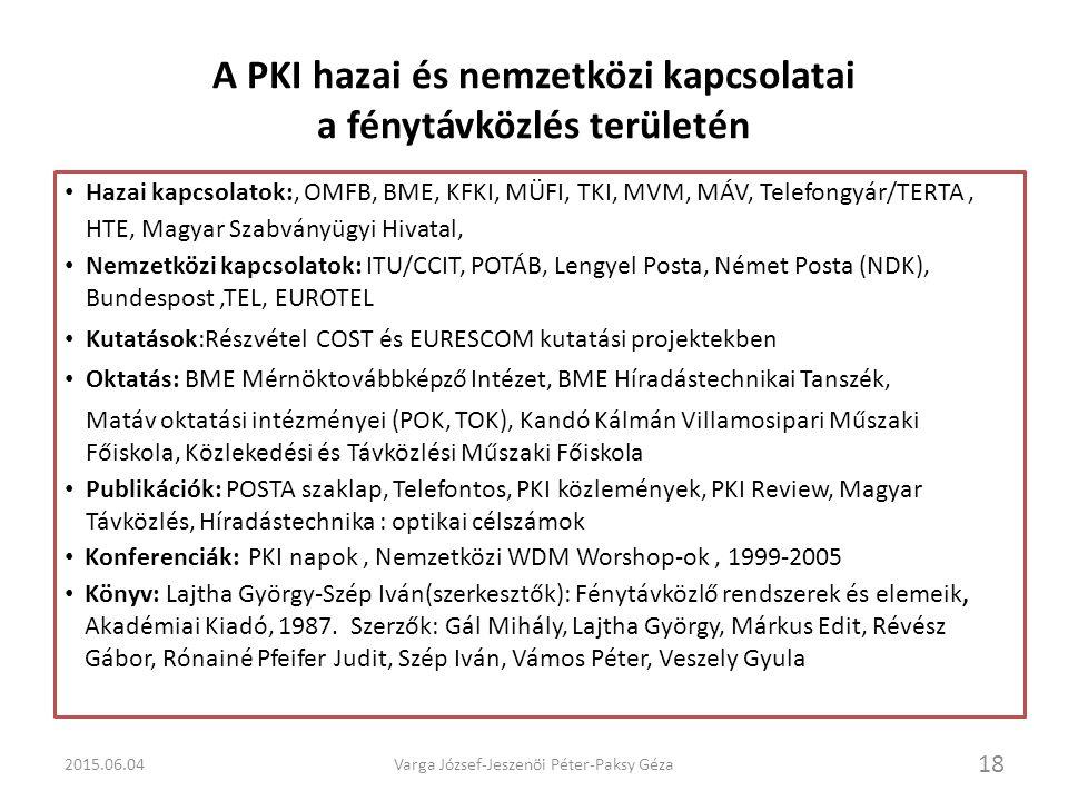 A PKI hazai és nemzetközi kapcsolatai a fénytávközlés területén