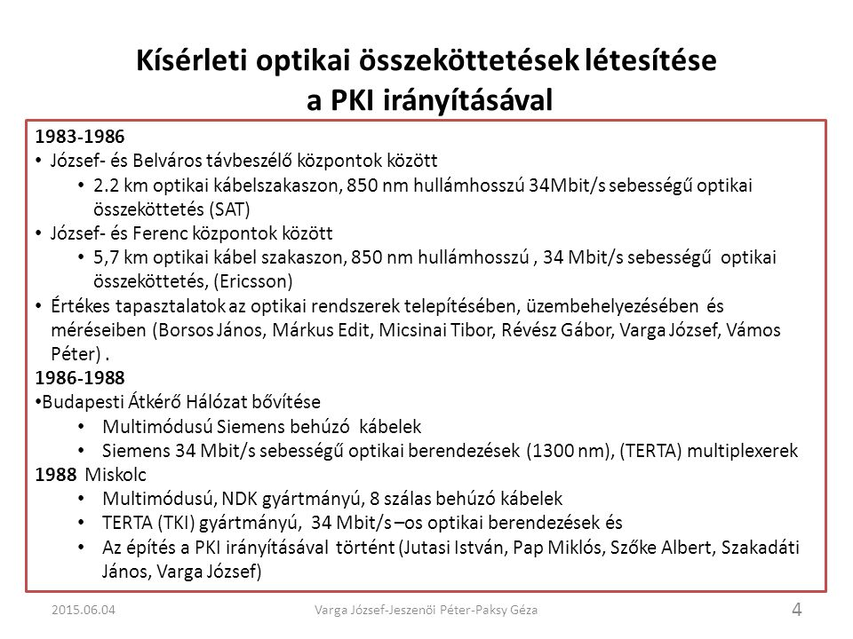 Kísérleti optikai összeköttetések létesítése a PKI irányításával