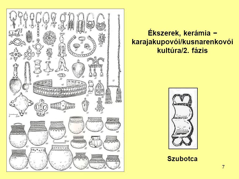 Ékszerek, kerámia − karajakupovói/kusnarenkovói kultúra/2. fázis