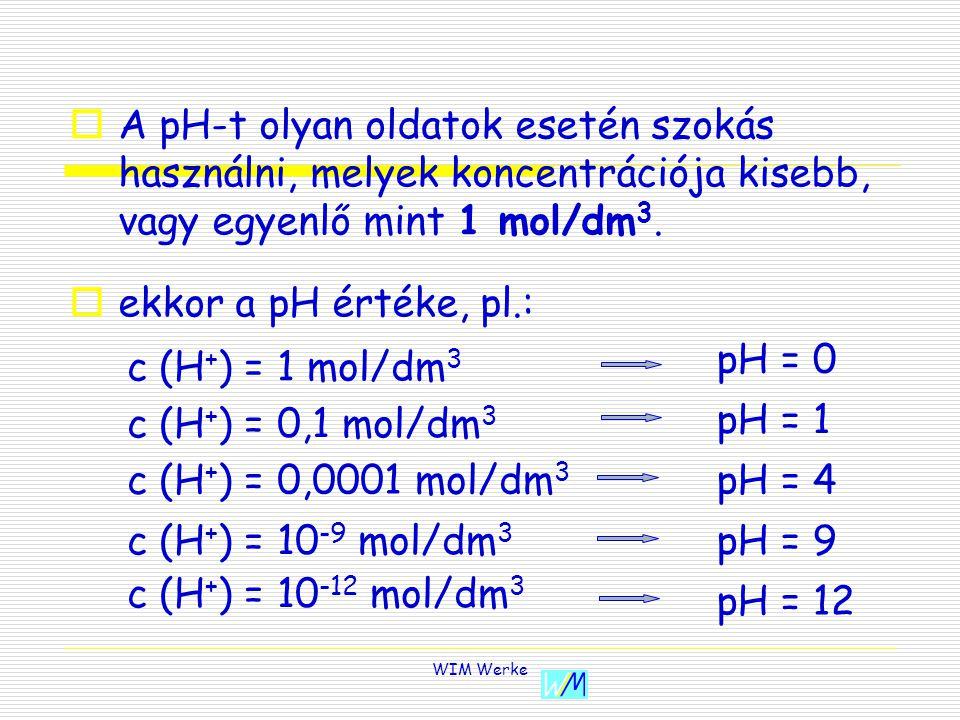 A pH-t olyan oldatok esetén szokás használni, melyek koncentrációja kisebb, vagy egyenlő mint 1 mol/dm3.