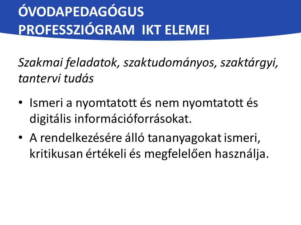 Óvodapedagógus professziógram IKT elemei