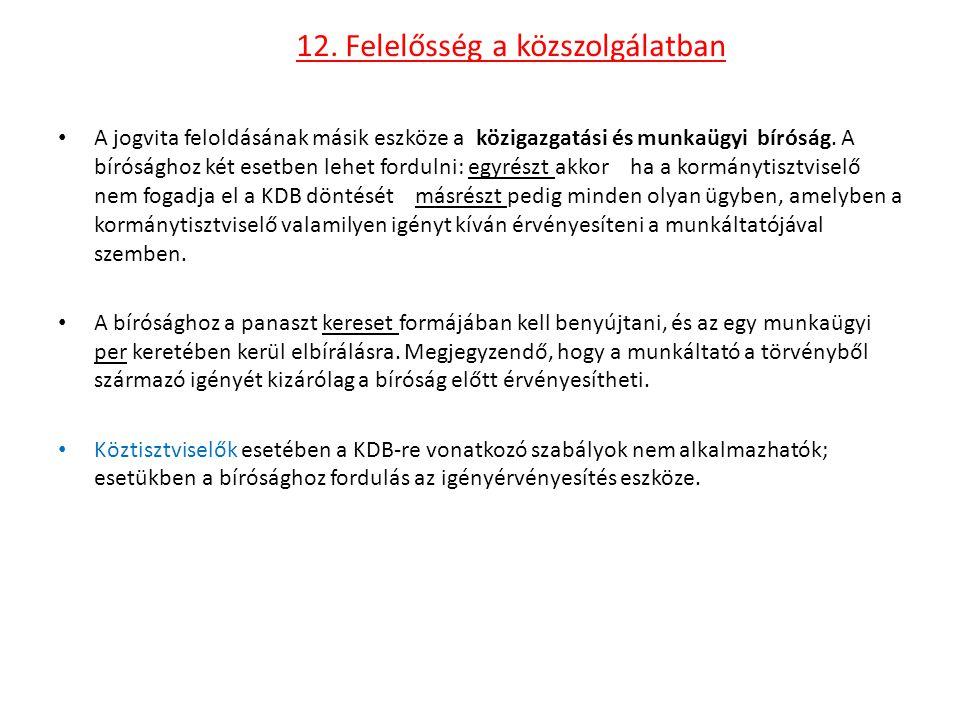 12. Felelősség a közszolgálatban