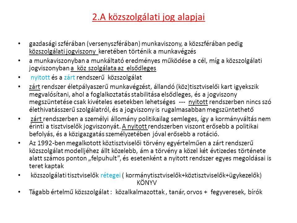 2.A közszolgálati jog alapjai