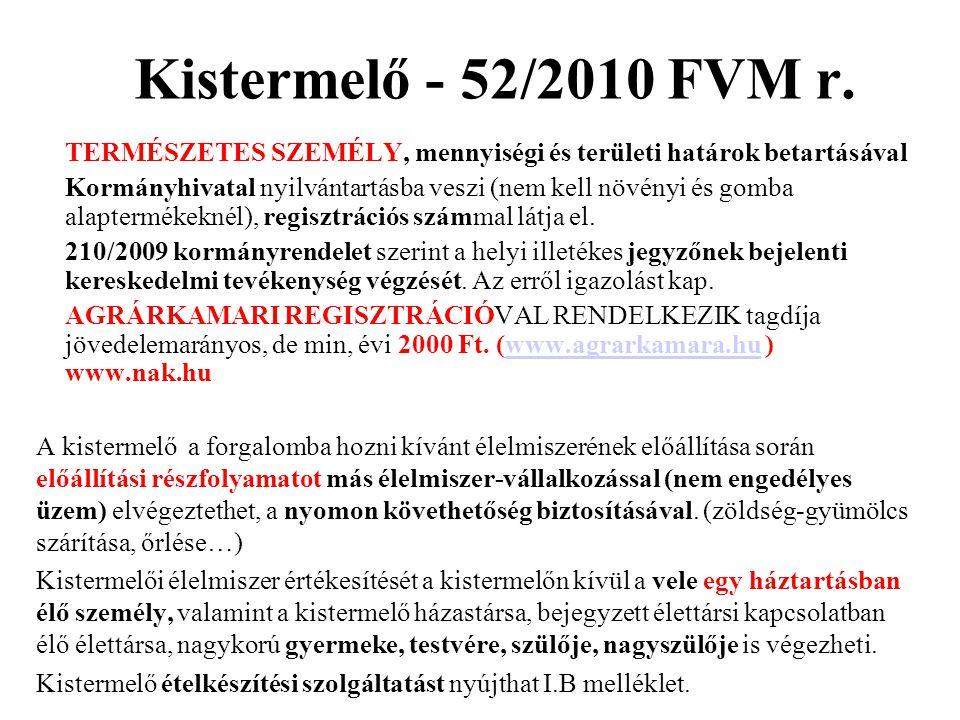 Kistermelő - 52/2010 FVM r. TERMÉSZETES SZEMÉLY, mennyiségi és területi határok betartásával.