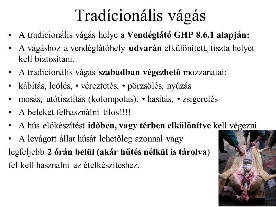 Tradícionális vágás A tradicionális vágás helye a Vendéglátó GHP 8.6.1 alapján: