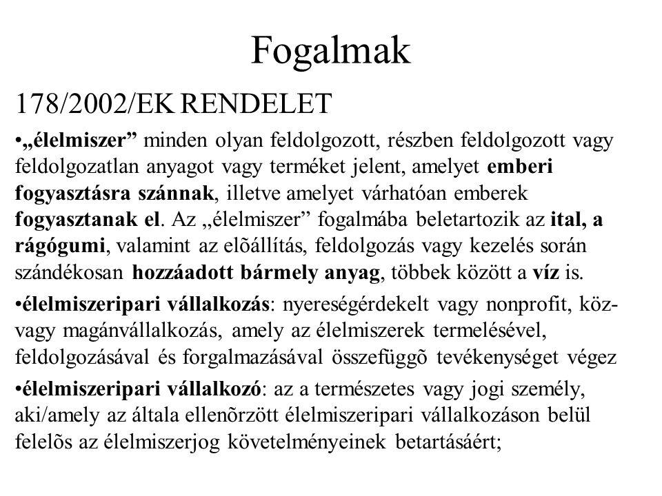 Fogalmak 178/2002/EK RENDELET