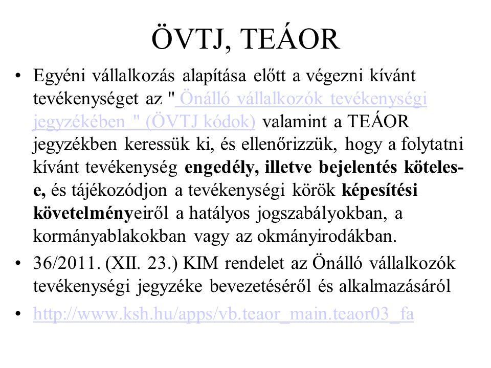 ÖVTJ, TEÁOR