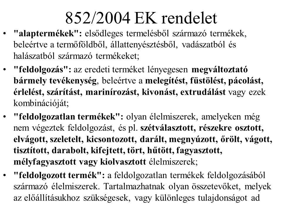 852/2004 EK rendelet