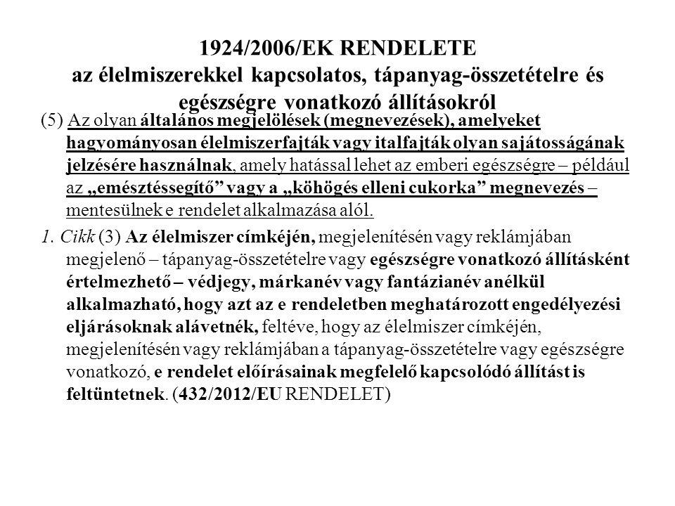 1924/2006/EK RENDELETE az élelmiszerekkel kapcsolatos, tápanyag-összetételre és egészségre vonatkozó állításokról