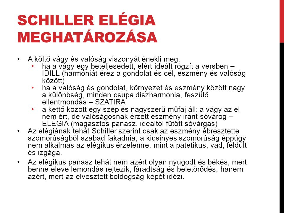 Schiller Elégia meghatározása