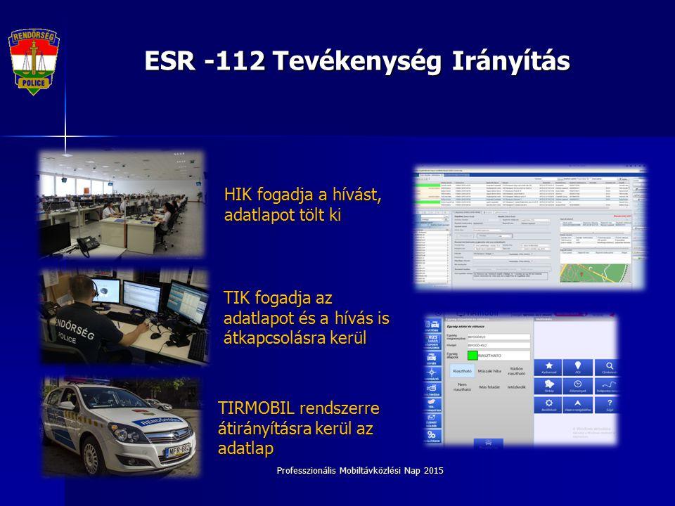 ESR -112 Tevékenység Irányítás