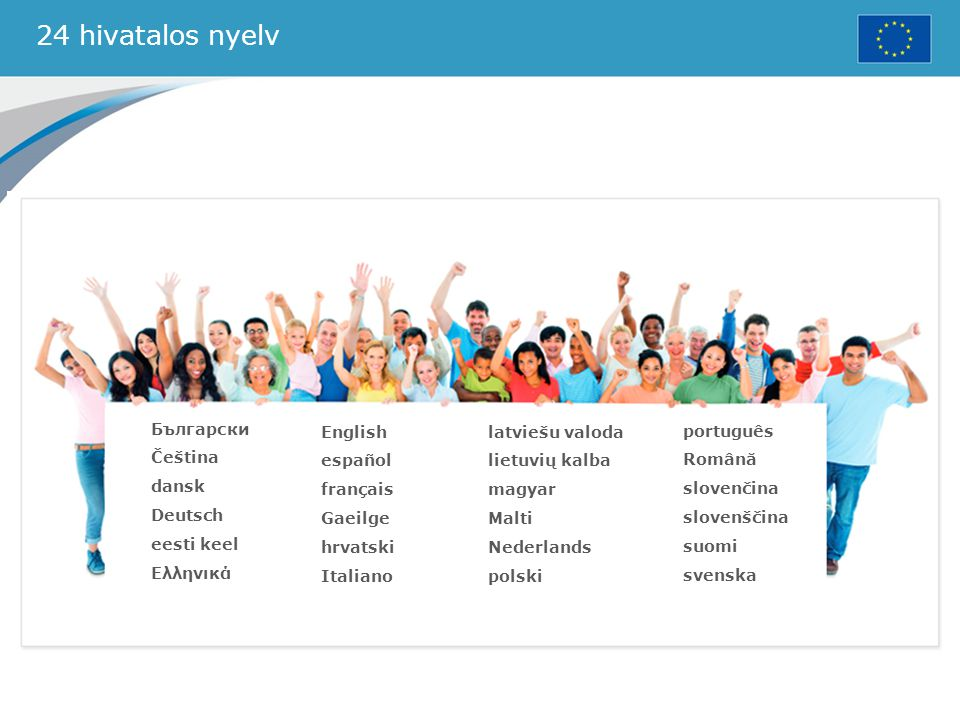 24 hivatalos nyelv Български Čeština dansk Deutsch eesti keel Ελληνικά