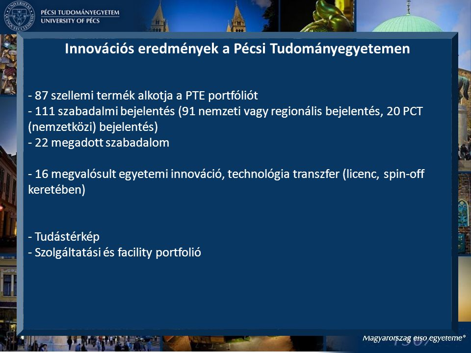 Innovációs eredmények a Pécsi Tudományegyetemen