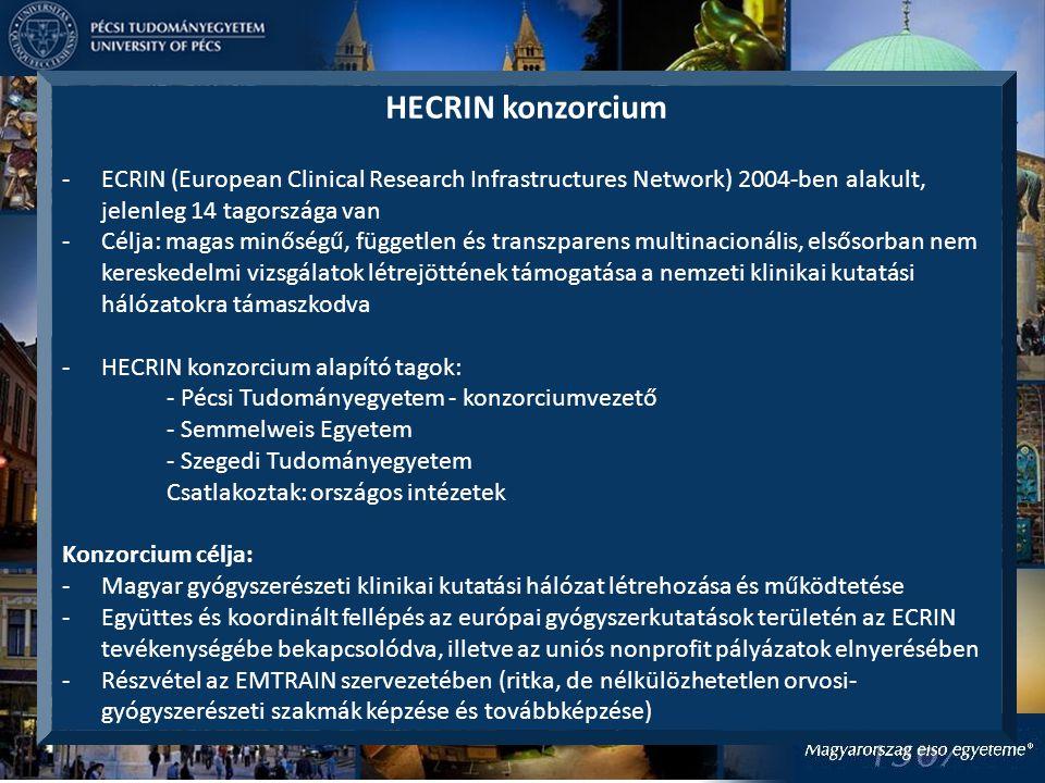 HECRIN konzorcium ECRIN (European Clinical Research Infrastructures Network) 2004-ben alakult, jelenleg 14 tagországa van.