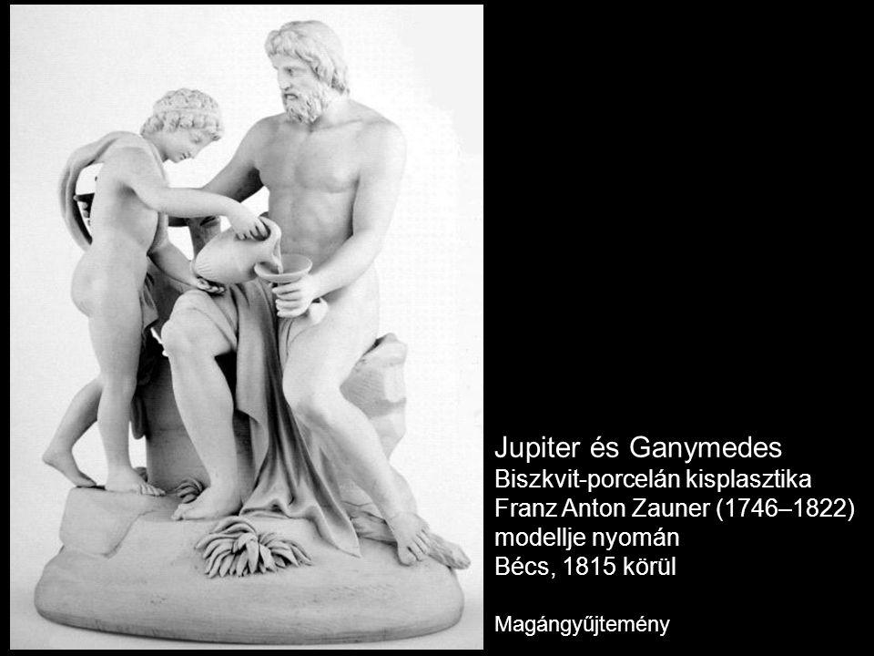 Jupiter és Ganymedes Biszkvit-porcelán kisplasztika