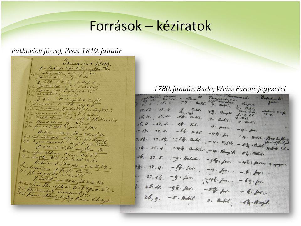 Források – kéziratok Patkovich József, Pécs, 1849. január