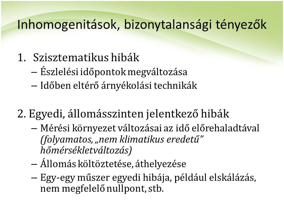 Inhomogenitások, bizonytalansági tényezők