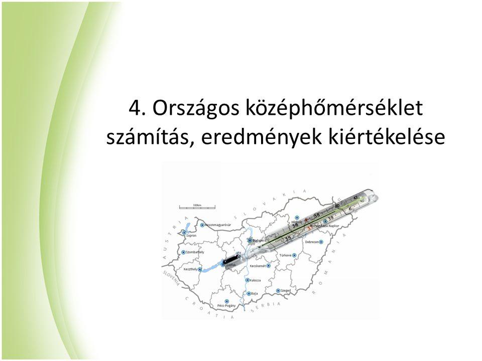 4. Országos középhőmérséklet számítás, eredmények kiértékelése