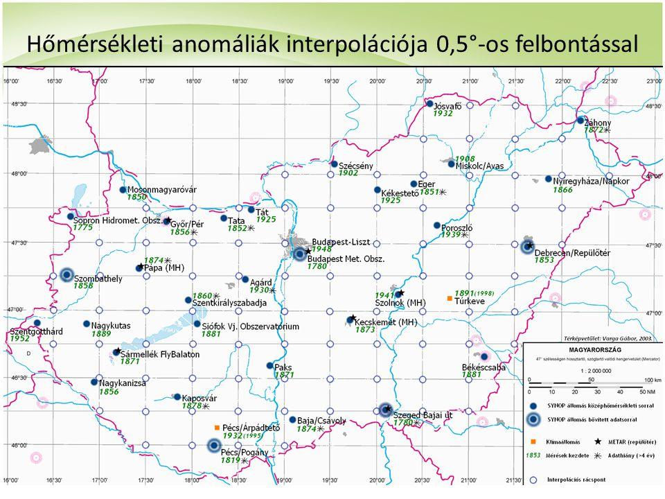 Hőmérsékleti anomáliák interpolációja 0,5°-os felbontással