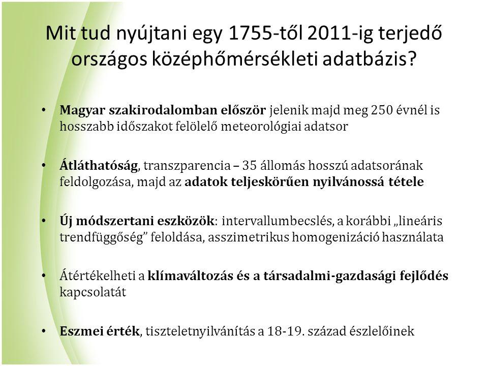 Mit tud nyújtani egy 1755-től 2011-ig terjedő országos középhőmérsékleti adatbázis