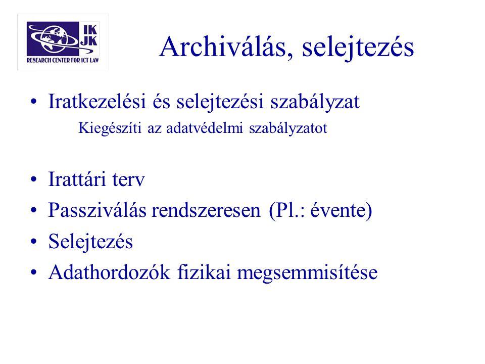Archiválás, selejtezés