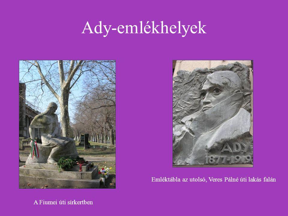 Ady-emlékhelyek Emléktábla az utolsó, Veres Pálné úti lakás falán