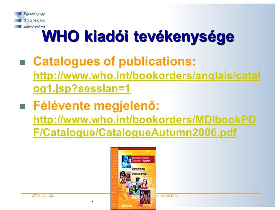 WHO kiadói tevékenysége
