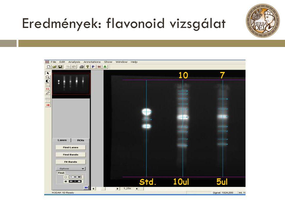 Eredmények: flavonoid vizsgálat