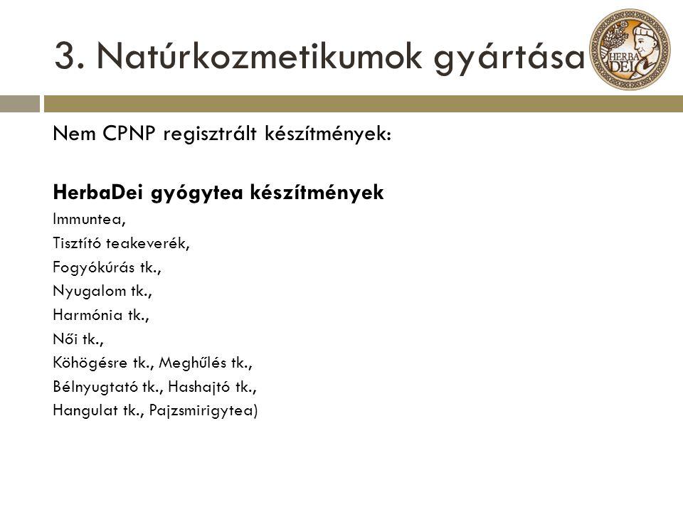 3. Natúrkozmetikumok gyártása