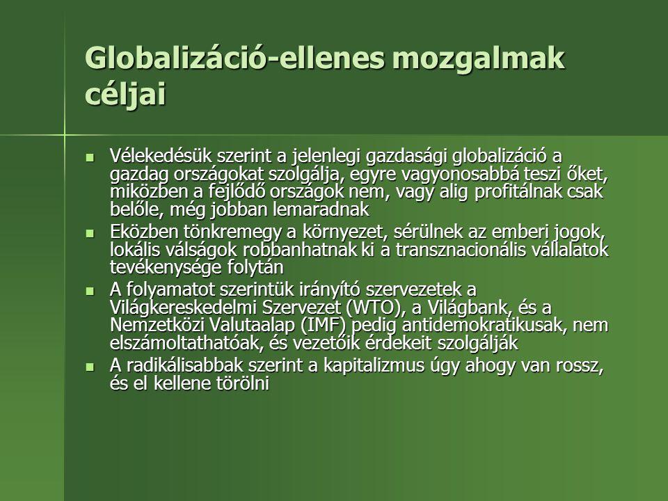 Globalizáció-ellenes mozgalmak céljai