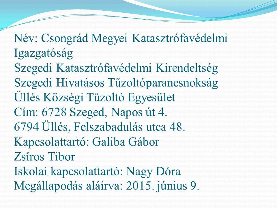 Név: Csongrád Megyei Katasztrófavédelmi Igazgatóság Szegedi Katasztrófavédelmi Kirendeltség Szegedi Hivatásos Tűzoltóparancsnokság Üllés Községi Tűzoltó Egyesület Cím: 6728 Szeged, Napos út 4.