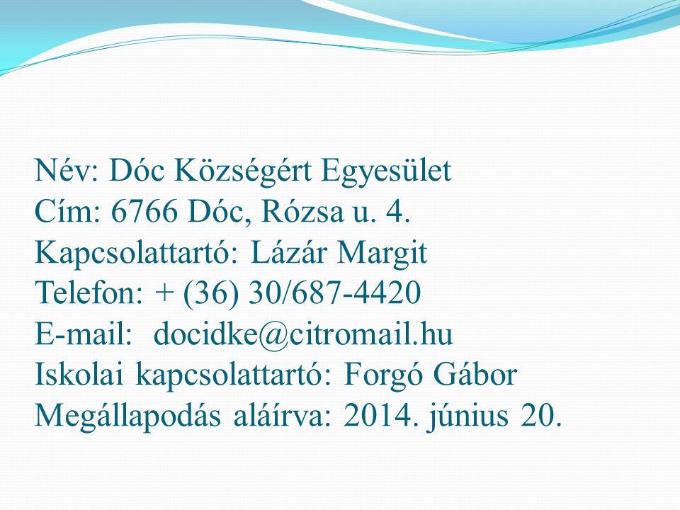 Név: Dóc Községért Egyesület Cím: 6766 Dóc, Rózsa u. 4