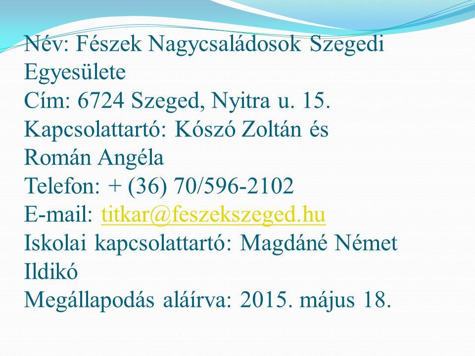 Név: Fészek Nagycsaládosok Szegedi Egyesülete Cím: 6724 Szeged, Nyitra u.