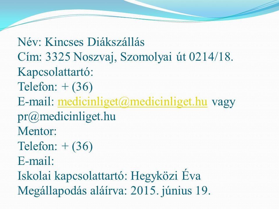 Név: Kincses Diákszállás Cím: 3325 Noszvaj, Szomolyai út 0214/18